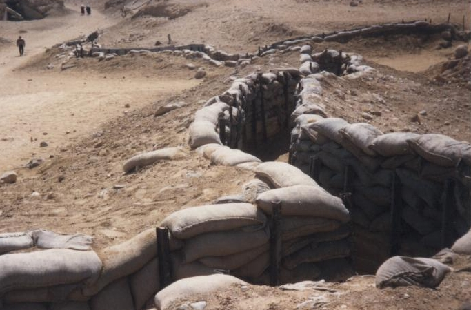 Sand-bagged trenches in Bar Lev Line, Sinai 1987