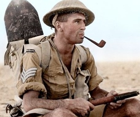 WW2 Kiwi Soldier smoking a pipe during a rest in the Middle East.