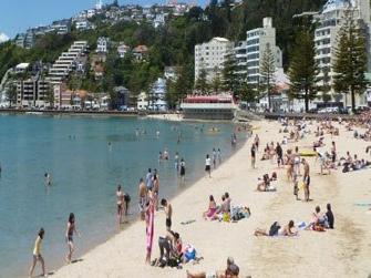 Kiwis enjoying a summer's day at the beach at Oriental Parade, Wellington.