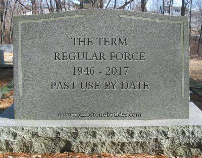 "A mock tombstone for the term ""Regular Force"""