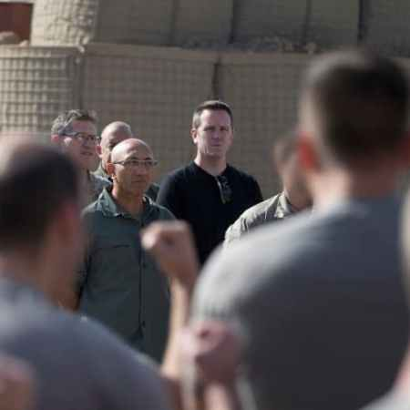NZ politicians Ron Mark, Andrew Little and Simon O'Connor face a haka by NZ troops deployed to Iraq in February 2018.