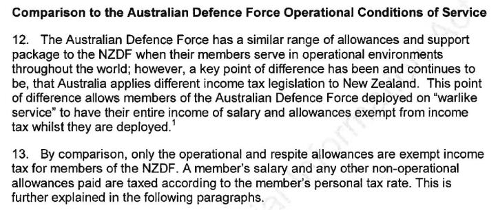 NZDF Comparison to Australian Defence Force Jan 2018