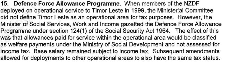 NZ Defence Force Allowance Programme for Timor 1999