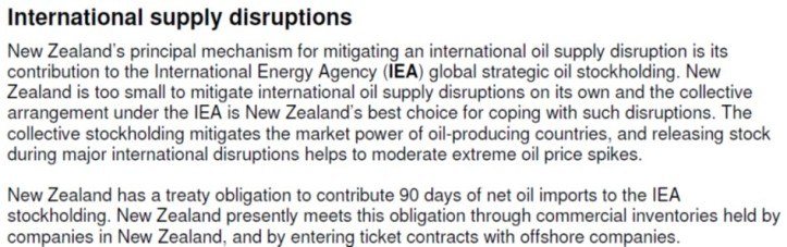 MBIE 2012 Fuel Security Discussion Paper Extract on NZ IEA obligations