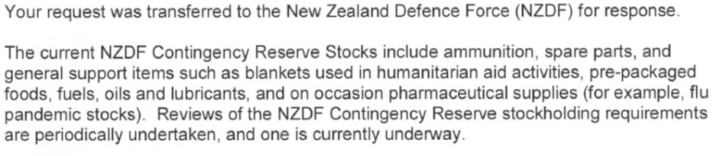 NZDF OIA Response - War Reserve Stock
