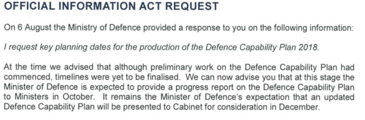 OIA Response from Ministry of Defence re Capability Plan Dates