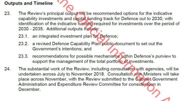 Extract from Defence Capability Plan ToR - Outputs and Dates