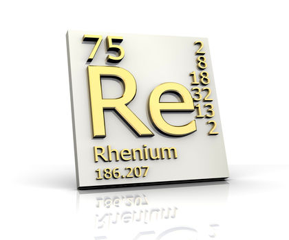 Rhenium - Number 75 in Periodic Table of Elements. Symbol Re