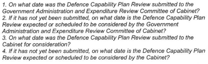 OIA Questions re Defence Capability Plan Review Cabinet Papers