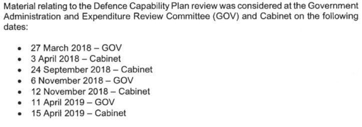 OIA Response from Minister of Defence re Capability Review docs to Cabinet