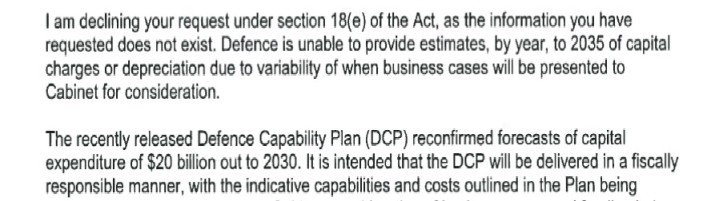 Extract from OIA Response by Defence Minister re Capital Charge