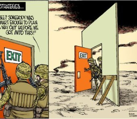 Exit strategy cartoon