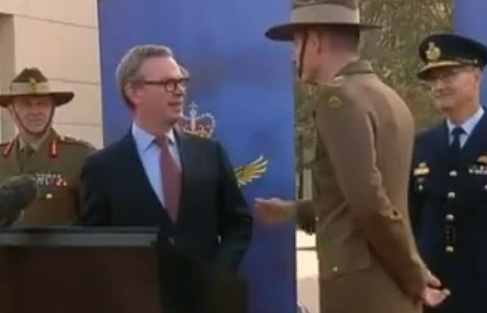 Defence Minister Pyne - General Angus Campbell Leaving Media Standup 2019 (Video Screenshot)